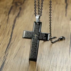 Crucifix Necklace Our Father Prayer Men Cross